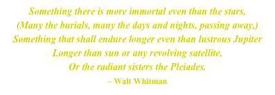 Something there is more immortal even than the stars, (Many the burials, many the days and nights, passing away,) Something that shall endure longer even than lustrous Jupiter Longer than sun or any revolving satellite, Or the radiant sisters the Pleiades. – Walt Whitman
